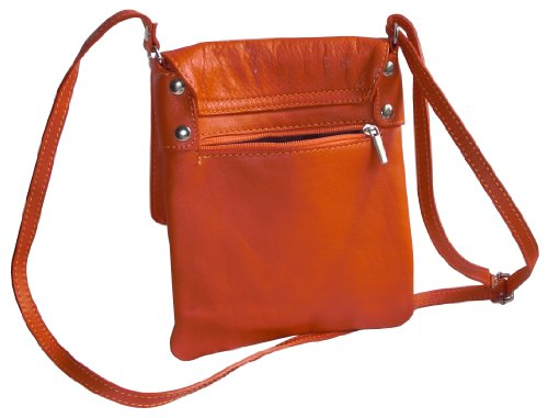 Italiano in morbida pelle, piccole e medie Messenger croce corpo o spalla borsetta.Include una custodia protettiva marca. Arancione (arancione)
