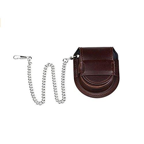 Holder Storage Case Box mit Kette Coin Geldbörse Tasche, PU-Leder, silber, 7.5*6.5cm (Pocket Watch Aufbewahrungsbox)