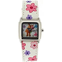 Boofle Analogue Ladies White Flower Design PU Strap Watch ABF2002
