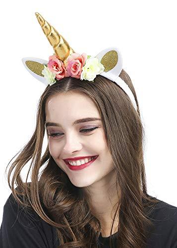 kercisbeauty handgefertigt Einhorn Weich Gold Katze Ohr Kopfband mit Rose Blumen für Damen und Teenager Mädchen, Halloween-Kostüm (Katze Kostüm Für Teenager Mädchen)
