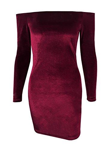 Futurino Femme Printemps/Été Décontracté Épaules Dénudées Velours Manches Longues Mini Party Bodycon Robe Plage Vacances Vin Rouge