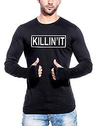 Maniac Men's Fullsleeve Printed Black Thumb Hole Cotton Tshirt