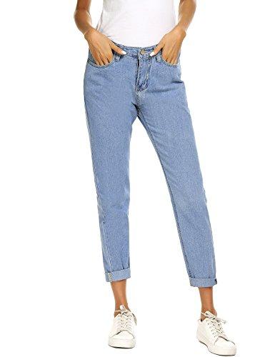Jeans a vita alta da donna, mom jeans boyfriend con vintage classica