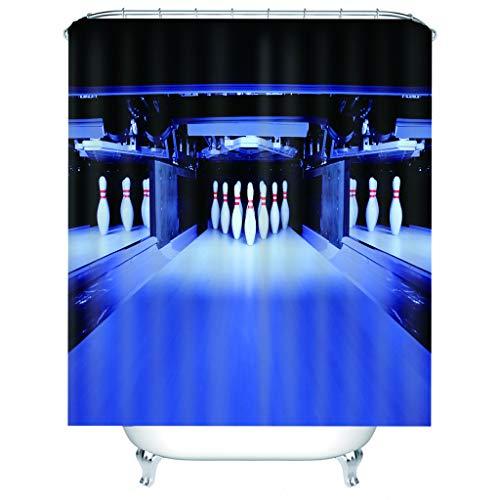 rhänge 3D Anzug,Bowling,Wasserabweisend Textil,Fabrik Wohnaccessoires Inkl 12 Duschvorhangringe-180(W) X180(H) cm ()