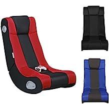 WOHNLING InGamer - Fauteuil multimédia fait de faux cuir en Noir / Rouge | Chaise de jeu avec haut-parleurs et caisson de basses | Chaise de musique avec son système