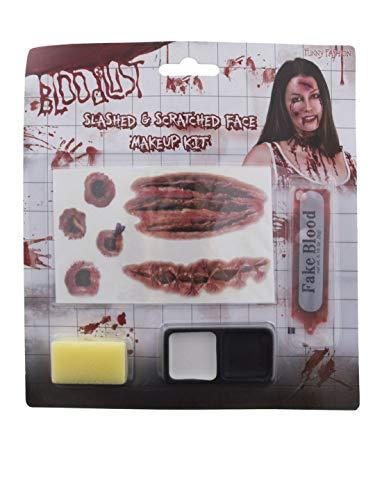 Karnevalsbud - Kostüm Accessoires Zubehör Make up Set Horror mit Fake Blut und Wunden, Zombie with Fake Blood and Wounds, perfekt für Halloween Karneval und Fasching, Rot (Fake Blut Zombie Kostüm)