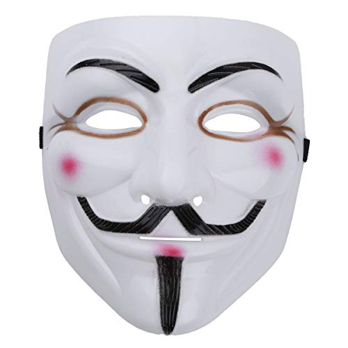 Alvivi Unisex Vendetta Maske Mask Guy Fawkes Anonymous Replika Demo Anti-Karneval Maske Anti Acta Demo Fasching Hacker Who am I Cosplay Weiß One Size