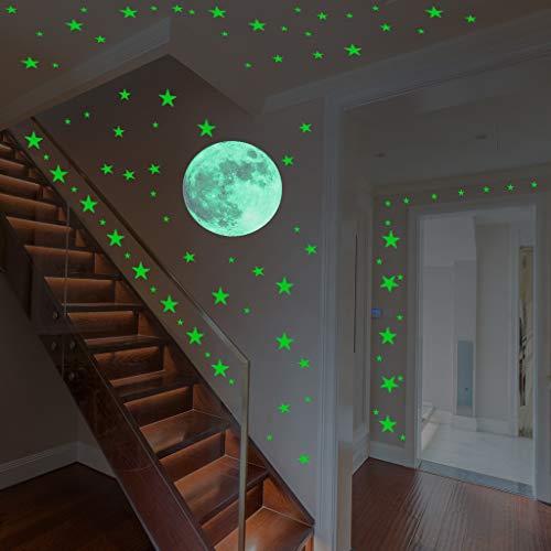 Jkhhi Glow In The Dark Star Wandaufkleber Wanddekoration Wandtattoo Wandbilder Leinwanddrucke Aufkleber Runde Sterne Moon Dot Luminous Kid Room Decor (In Dark The Leinwand-wand-kunst-glow)