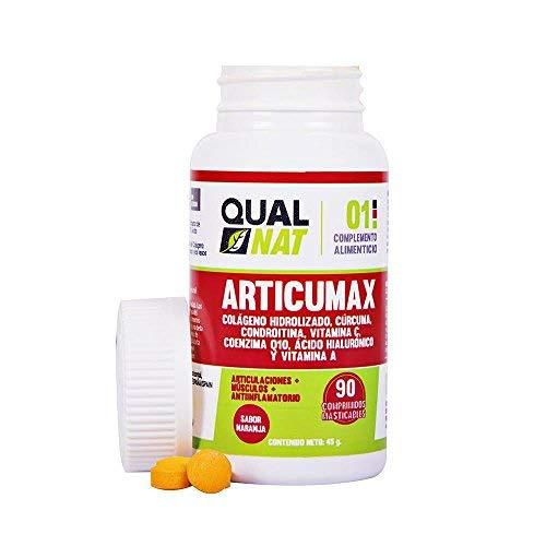 Qualnat Collagene con estratto di curcuma per aiutare le nostre ossa e articolazioni - Compresse con vitamina C, condroitina e acido ialuronico - 90 compresse masticabili al gusto di arancia