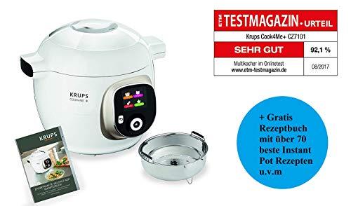 Krups Cook4Me+ CZ7101 Multikocher (Garen unter Druck für schnelle und frische Gerichte, 6 Liter Fassungsvermögen, 1.600 Watt, inkl. 2 x Rezeptbuch) weiß/grau