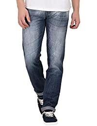 JUGEND Light Blue Whiskered Light Distressed Non-Stretchable Relaxed fit Jeans for Men