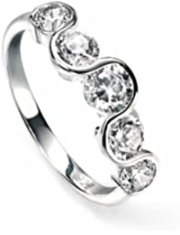 Elements: Curved Zirconia Design Ring, Sterling Silver