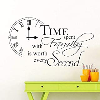 Time Spent with Family is Worth Every Second Inspirational Wall Sticker Quote Kitchen Dining Room Home Wall Art Decor Decal 99 * 57Cm