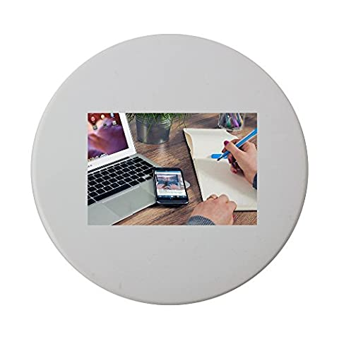 Ceramic round coaster with Office, Notes, Notepad, Entrepreneur