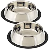 KING INTERNATIONAL STAINLES STEEL PET BOWL PET FOOD WATER BOWL (ANTI SKID) 4000 ML (SET OF 2) LARGE SIZE FOR BIG SIZE PETS