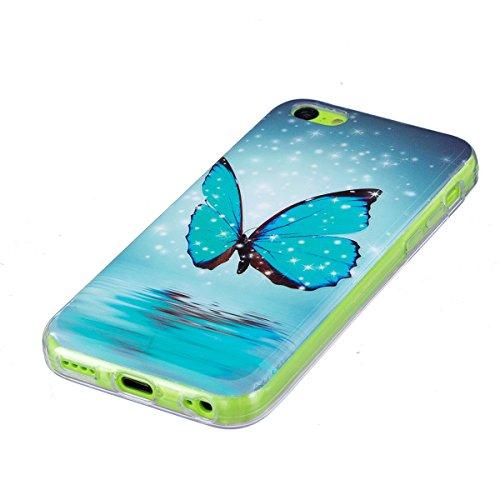 Coque iPhone 5C Etui iPhone 5C, ISAKEN Peinture Style TPU Coque pour Apple iPhone 5C, Ultra Mince Souple TPU Silicone Lumineux Fluorescents Dans Le Noir Etui Housse de Protection Coque Étui Case Cover Glitter blue butterfly