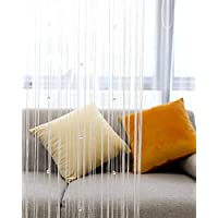 Lewondr Beaded String Curtain, Decorative Crystal Clear Beads Curtain Window Sheer Strip Blind Door Panel Fringe Room Divider for Doorway House Coffee 39x79 Inch(100x200 cm) - White