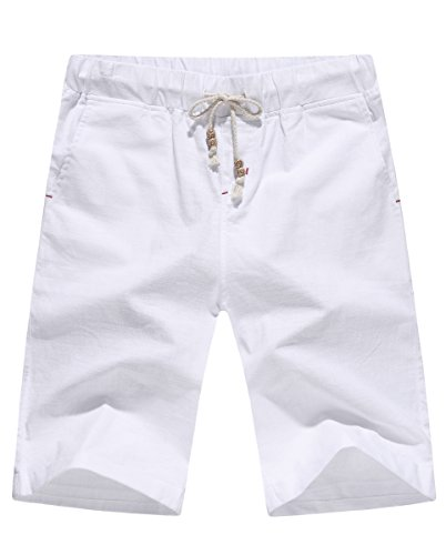 POSESHE Herren Drawstring Leinen Casual Sommer Beach Shorts (L(Taille 35-37 inches), Weiß)