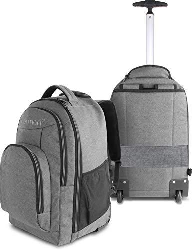 normani Rucksack mit Trolleyfunktion - 30 Liter Volumen Rucksacktrolley mit Laptopfach für Schule, Uni, Reisen, Ausflüge oder Einkaufen Farbe Grau