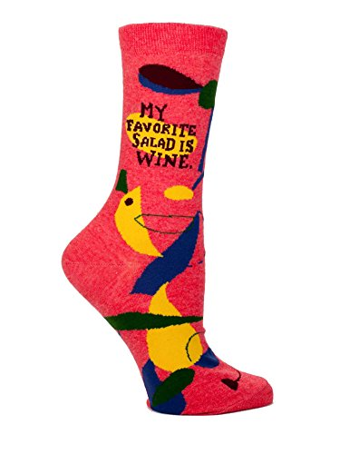 Women's Novelty Crew Socks: My Favorite Salad is Wine (Womens Cap Crew)