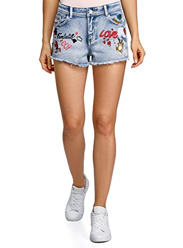Oodji ultra donna shorts in jeans con disegno e ricami, blu, w28 / it 44 / eu 40
