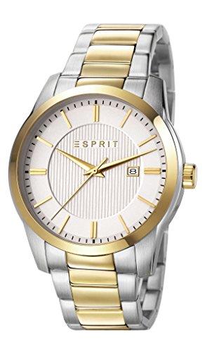 ESPRIT Relais Herren Quarz-Uhr mit Easy silber Zifferblatt Analog-Anzeige und zweifarbigem Armband Edelstahl es107591005
