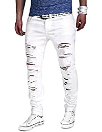 Minetom Homme Skinny Trou Biker Jeans Straight Fit Déchiré Styles Destroyed Denim Slim Fit Serré Pantalon