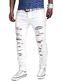 Minetom Elasticizzati da Uomo Strappati Jeans Taglio Straigh Pantaloni Skinny Mode Casual Sguardo Distrutto Patchato Stile