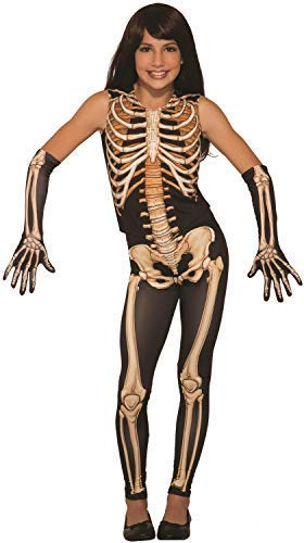 Mädchen Skelettschädel Miss Knochen Jangles Halloween Horror Tv Buch Film Kostüm Kleid Outfit - Schwarz, 4-6 Years