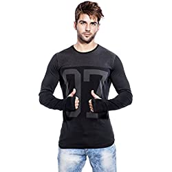 Maniac Men's Cotton T-Shirt (MEN-SS18-THUMB-RING-BLACK-DGREY-07-M, Black, Medium)