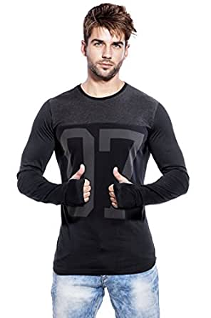 Maniac Men's Cotton Fullsleeve Printed T-Shirt (Black and Charcoal, Small)