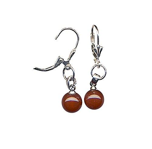 Edelsteinmandel-König Hübsche Kleine Hängende Ohrringe aus Roten Achat - Perlen (ca. 8mm), Gesamtlänge ca. 3.6 cm, Sterling Silber Aufhängung