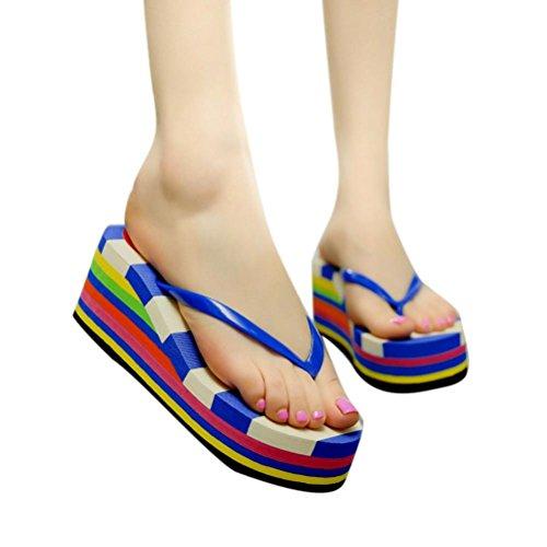 Dorame Sandali da Donna, Scarpe Estive Strass Sandali Donna Bassi Casual Perlina Stile Mare Vacanza - Colorful Blu