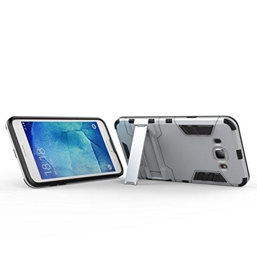 GALAXY J3 Hülle,EVERGREENBUYING Abnehmbare Hybrid Schein SM-J3109 Cases Ultra-dünne Schutzhülle Case Cover mit Ständer für Samsung GALAXY J3 (Gold+Schwarz) Silber