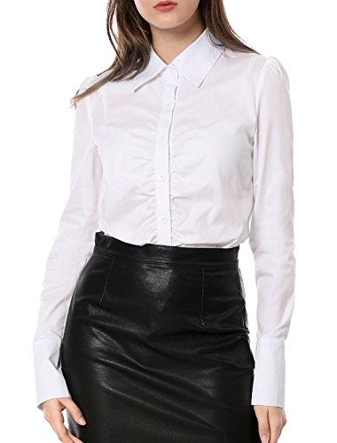 Allegra K Damen Langarm Slim Fit Ruffle Einreiher Hemd Bluse Weiß M (EU 40)