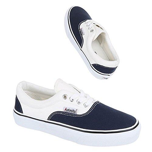 Ital-Design Donna pantofole Blu - Blu e bianco