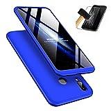 MISSDU kompatibel mit Premium Hart PC 360 Grad Hülle Huawei Honor Play Hülle + Panzerglas,3 in1 Handytasche Handyhülle Schutzhülle Cover - Blau