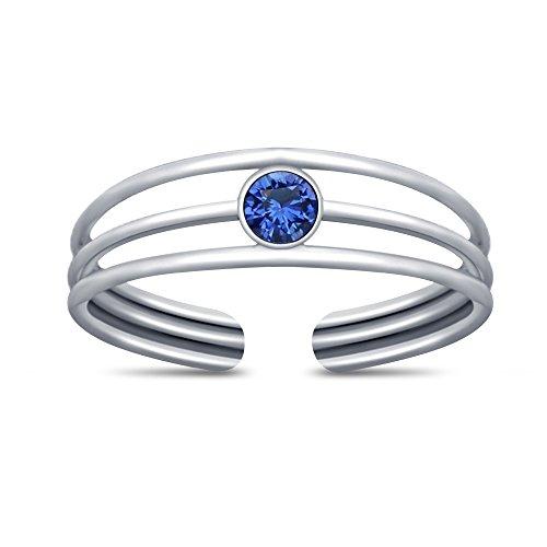 Vorra Fashion Damen-Zehenring Ring mit Platin überzogen Blau Saphir Rundschliff 925. Sterling Silber (Platin-blau Saphir-ring)