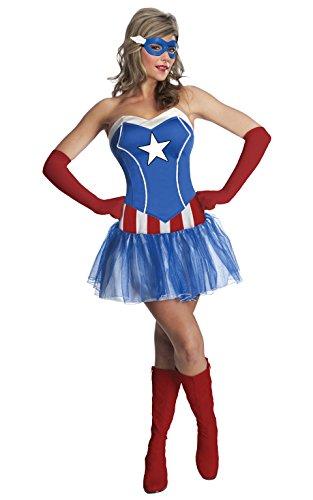Damen Marvel Miss American Dream Captain Amercia Tutu Kleid Erwachsenen-Kostüm–XS (Captain America Kostüm Für Frauen)