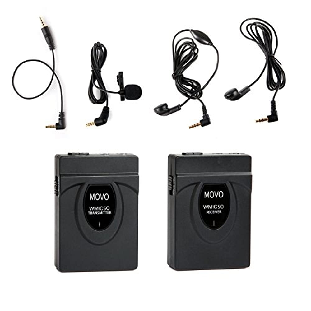 MOVO WMIC50 2.4GHz Kabeloses Lavalier-Mikrofon-System mit integrierter 164-Fuß-Bereich-Antenne (inklusive Transmitter mit Gürtelclip, Receiver mit Kameraschuh, Lavalier und 2 Kopfhörern)