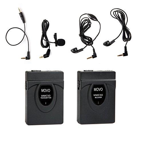 Movo WMIC50 2.4GHz Sistema Inalámbrico Micrófono de Solapa Corbata c