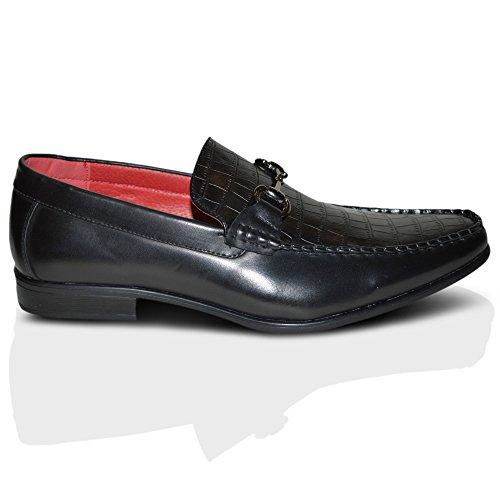 Giovanni Cuir Pour Hommes doubléÀ Enfiler Crocodile Bout Rond Fête De Noces Chaussures Habillées ROYAUME-UNI Noir