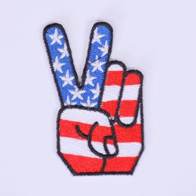 Toppa per giacche da Iron on Patches Applicazione toppa USA Fingers 8cm