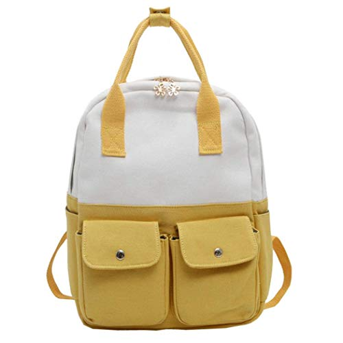 ZHRUI Canvas Rucksack für Frauen Teen Mädchen High School Tasche, Schulter große süße Riemen Sling leichte Packalbe Erwachsene Student (Pink) (Farbe : Gelb)