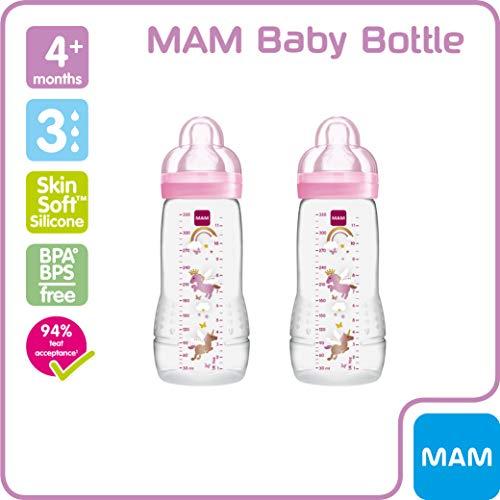 Botella y la tetina de flujo r/ápido 330 ml paquete de 2 colores aleatorios Mam