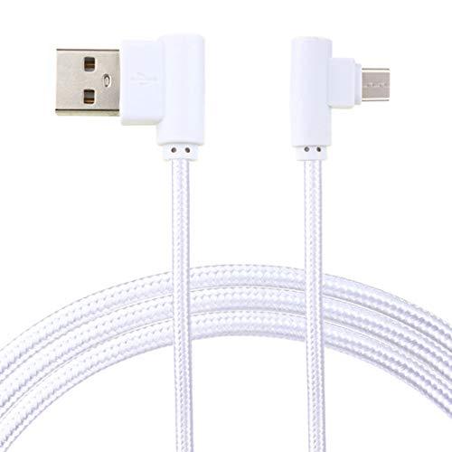 LoongGate super langer rechter Winkel Micro-USB-Kabel-für Sofa, Bett, Outdoor-Einsatz-Nylon geflochtene 90 Grad USB A bis Micro B-Lade-und datensync-Kabel für alle Micro-USB-Geräte-3 Meter (9,8 ft)-Silber