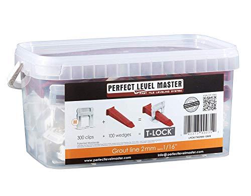 Perfect Level Master - T-Lock Sistema De Nivelación De Baldosas (2mm) 300 Clips Y 100 Cuñas