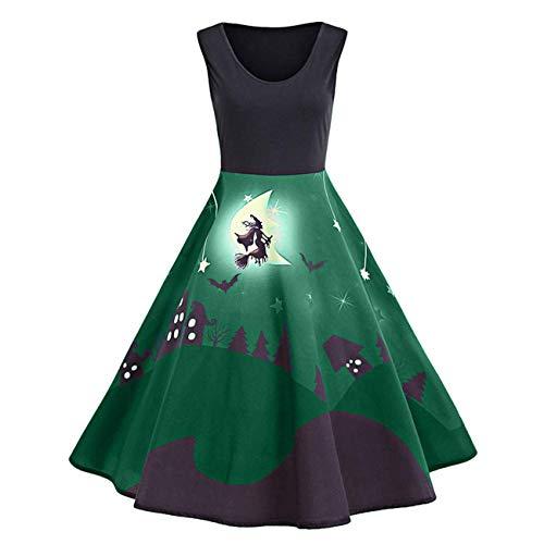 (Frauen Kleid, Halloween Damen Sexy Vintage Print Sleeveless Halloween langes Kleid (Farbe : Grün, Größe : Medium))