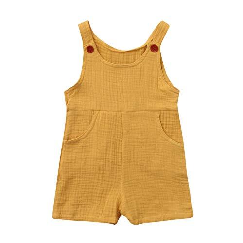 JUTOO Sommer Kleinkind Neugeborenen Kinder Baby Jungen Mädchen Einfarbig Spielanzug Overall Kleidung (Gelb 1,80) (Papierkorb Kostüm)