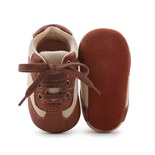 DELEBAO Babyschuhe Krabbelschuhe Lederschuhe Leder Baby Schuhe Lauflernschuhe Lederpuschen Weicher und Rutschfester Sohle für Kleinkind -